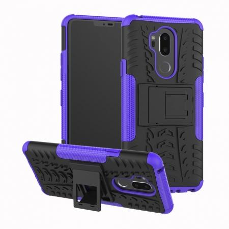 Case For LG G7 ThinQ Rugged Armor Shockproof Hybrid Kickstand Phone Cover - Purple