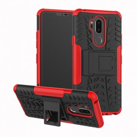 Case For LG G7 ThinQ Rugged Armor Shockproof Hybrid Kickstand Phone Cover - Red