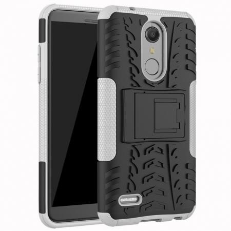 Case For LG K30 / K10 2018 Rugged Armor Defender Kickstand Phone Cover - White