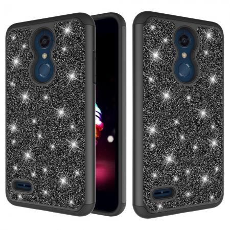 Cases For LG K30 / LG K10 2018 Shock Absorbing Glitter Bling Rubber Protective Case Cover - Black