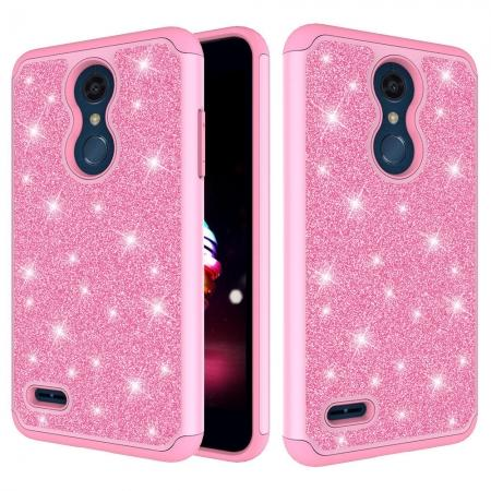 Cases For LG K30 / LG K10 2018 Shock Absorbing Glitter Bling Rubber Protective Case Cover - Pink