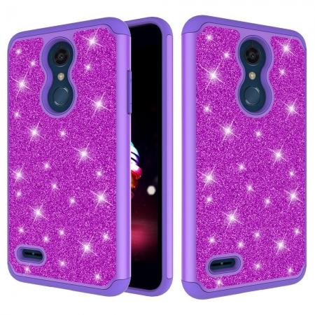 Cases For LG K30 / LG K10 2018 Shock Absorbing Glitter Bling Rubber Protective Case Cover - Purple