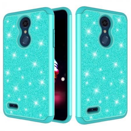 Cases For LG K30 / LG K10 2018 Shock Absorbing Glitter Bling Rubber Protective Case Cover - Teal