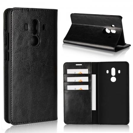 Crazy Horse Genuine Leather Case Flip Stand Card Slot for Huawei Mate 10 Pro - Black
