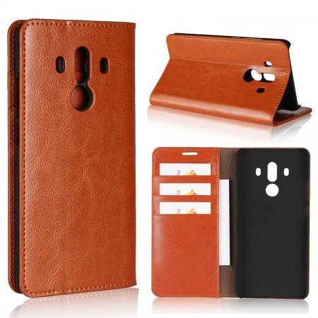 Crazy Horse Genuine Leather Case Flip Stand Card Slot for Huawei Mate 10 Pro - Brown