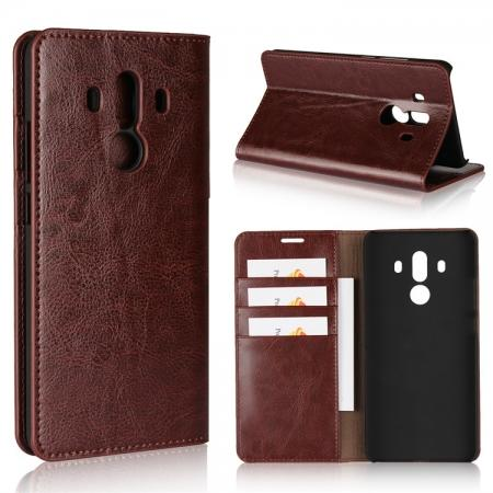 Crazy Horse Genuine Leather Case Flip Stand Card Slot for Huawei Mate 10 Pro - Coffee