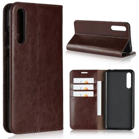 Crazy Horse Genuine Leather Case Flip Stand Card Slot for Huawei P20 Pro - Coffee