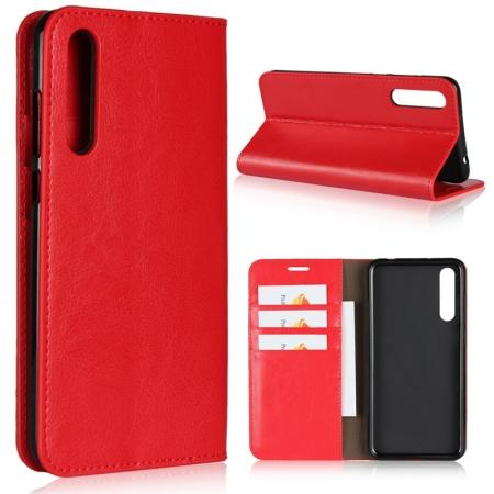 Crazy Horse Genuine Leather Case Flip Stand Card Slot for Huawei P20 Pro - Red