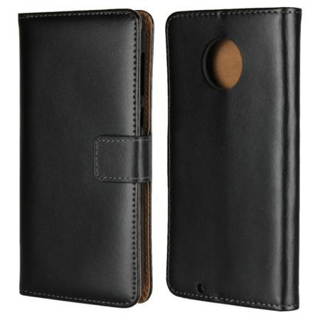 Crazy Horse Genuine Leather Case Flip Stand Card Slot for Motorola Moto G6 - Black