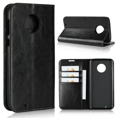 Crazy Horse Genuine Leather Flip Case Cover Stand with Card Slots for Motorola Moto G6 - Black
