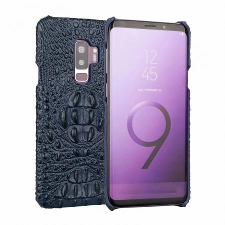 Crocodile Head Genuine Leather Back Cover Case for Samsung Galaxy S9 Plus - Dark Blue