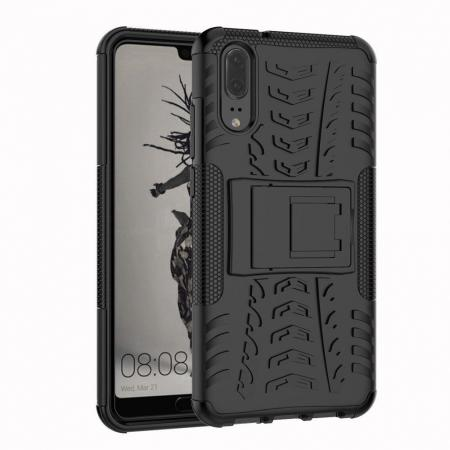 For Huawei P20 Hybrid Armor Shockproof Rugged Bumper Stand Case Cover - Black