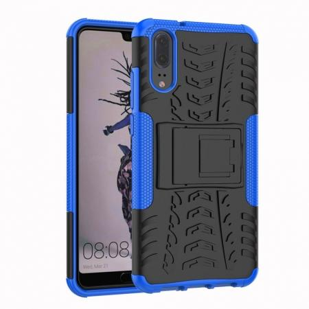 For Huawei P20 Hybrid Armor Shockproof Rugged Bumper Stand Case Cover - Blue