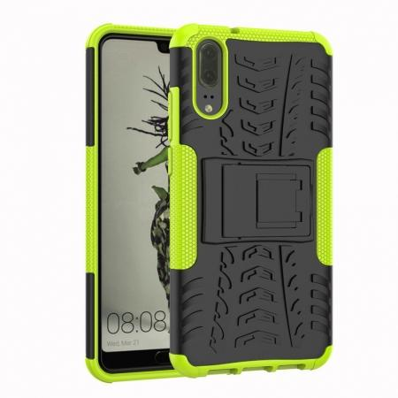 For Huawei P20 Hybrid Armor Shockproof Rugged Bumper Stand Case Cover - Green