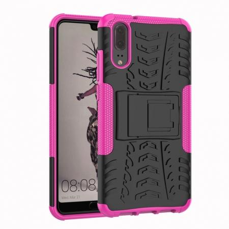 For Huawei P20 Hybrid Armor Shockproof Rugged Bumper Stand Case Cover - Hot pink