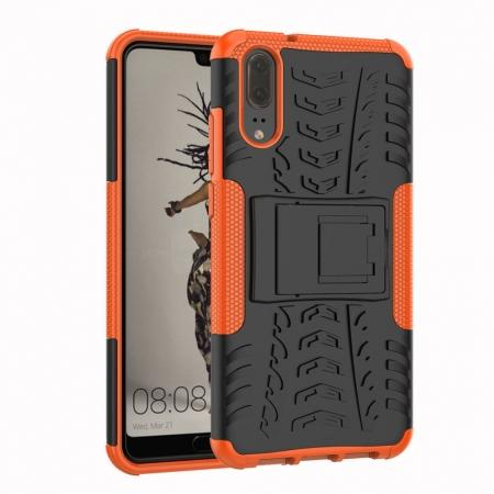 For Huawei P20 Hybrid Armor Shockproof Rugged Bumper Stand Case Cover - Orange