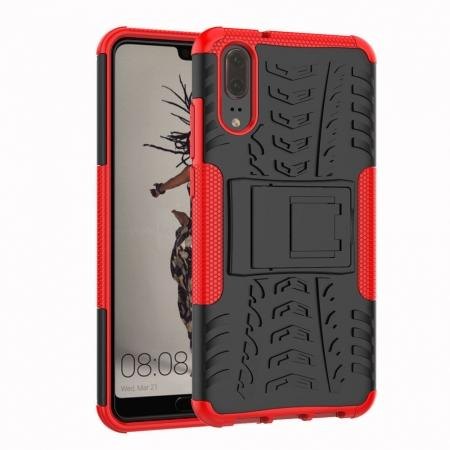 For Huawei P20 Hybrid Armor Shockproof Rugged Bumper Stand Case Cover - Red