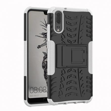 For Huawei P20 Hybrid Armor Shockproof Rugged Bumper Stand Case Cover - White