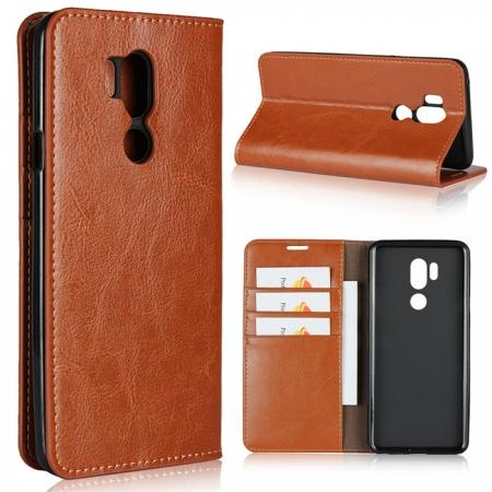 For LG G7 Crazy Horse Genuine Leather Case Flip Stand Card Slot - Brown