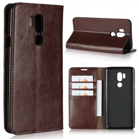 For LG G7 Crazy Horse Genuine Leather Case Flip Stand Card Slot - Coffee