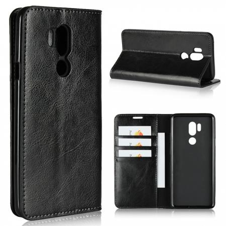 For LG G7 Crazy Horse Genuine Leather Case Flip Stand Card Slot - Black