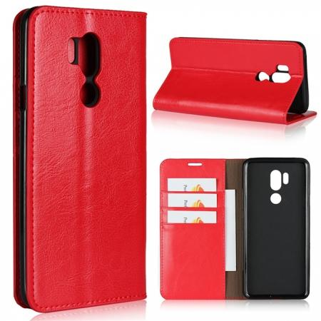 For LG G7 Crazy Horse Genuine Leather Case Flip Stand Card Slot - Red