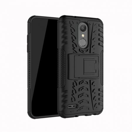 For LG LV3 2018 / LG Aristo 2 Shockproof Hybrid Kickstand Rubber Hard Case Cover - Black