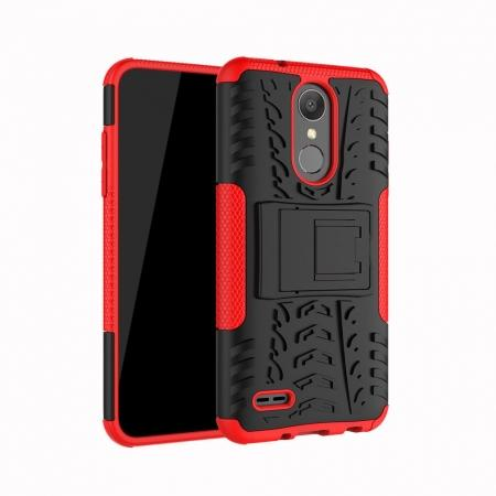 For LG LV3 2018 / LG Aristo 2 Shockproof Hybrid Kickstand Rubber Hard Case Cover - Red