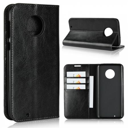 For Motorola Moto G6 Plus Crazy Horse Genuine Leather Case Flip Stand Card Slot - Black