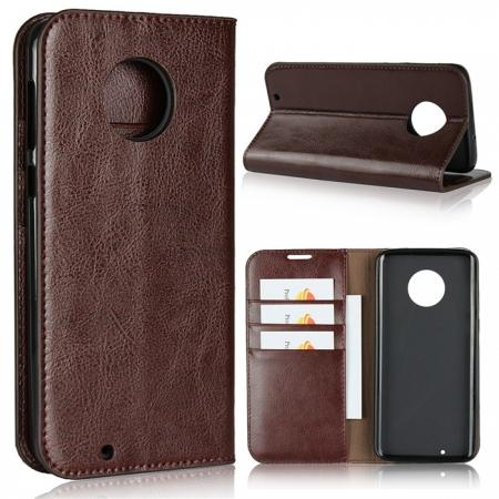 For Motorola Moto G6 Plus Crazy Horse Genuine Leather Case Flip Stand Card Slot - Coffee