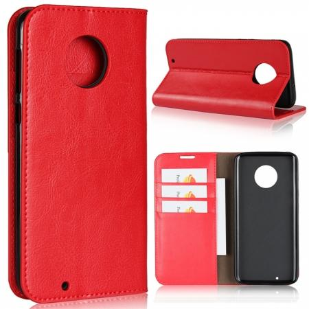 For Motorola Moto G6 Plus Crazy Horse Genuine Leather Case Flip Stand Card Slot - Red