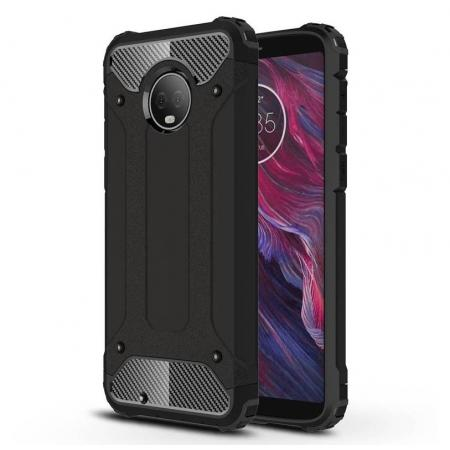 For Motorola Moto G6 Rugged Armor Hybrid Shockproof Back Case Cover - Black