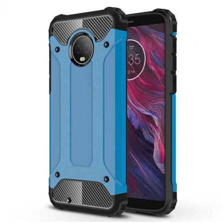 For Motorola Moto G6 Rugged Armor Hybrid Shockproof Back Case Cover - Blue