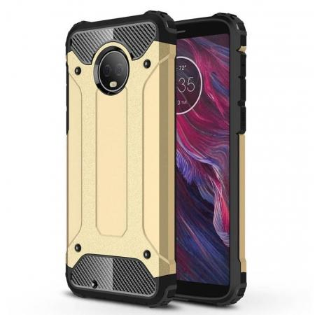For Motorola Moto G6 Rugged Armor Hybrid Shockproof Back Case Cover - Gold