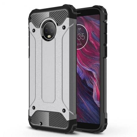 For Motorola Moto G6 Rugged Armor Hybrid Shockproof Back Case Cover - Gray