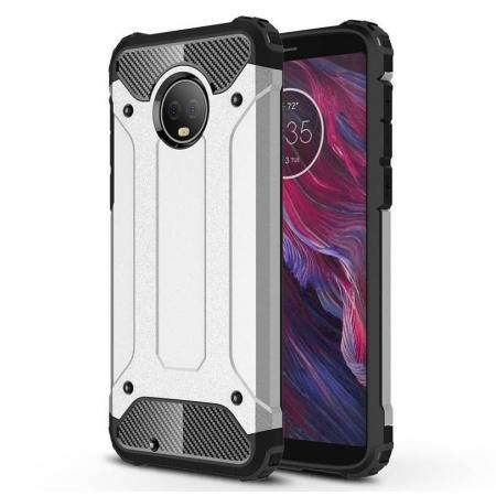 For Motorola Moto G6 Rugged Armor Hybrid Shockproof Back Case Cover - Silver