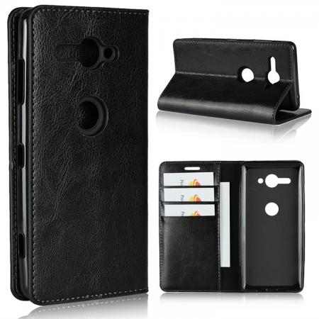 For Sony Xperia XZ2 Compact Crazy Horse Genuine Leather Case Flip Stand Card Slot - Black