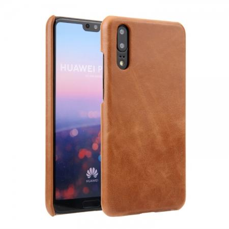 Genuine Leather Matte Back Hard Case Cover for Huawei P20 - Brown