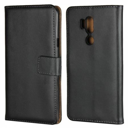 Genuine Leather Stand Wallet Case for LG G7 with Card Slots&holder - Black