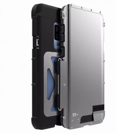 R-JUST Aluminum Metal Shockproof Full Cover Case For Samsung Galaxy S9 Plus - Silver