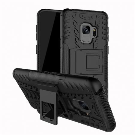 Rugged Armor Shockproof Kickstand Plastic Cover Case For Samsung Galaxy S9 - Black