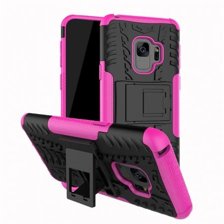 Rugged Armor Shockproof Kickstand Plastic Cover Case For Samsung Galaxy S9 - Hot Pink