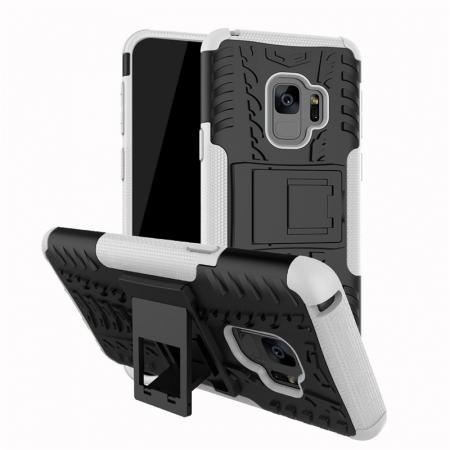 Rugged Armor Shockproof Kickstand Plastic Cover Case For Samsung Galaxy S9 - White