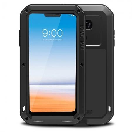 Shockproof Aluminum Metal Super Anti Shake Silicone Protection Case Gorilla Glass for LG G7 / G7 ThinQ - Black