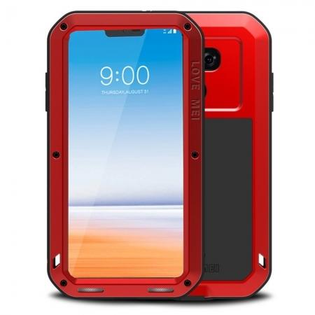 Shockproof Aluminum Metal Super Anti Shake Silicone Protection Case Gorilla Glass for LG G7 / G7 ThinQ - Red