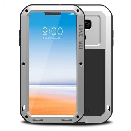 Shockproof Aluminum Metal Super Anti Shake Silicone Protection Case Gorilla Glass for LG G7 / G7 ThinQ - Silver