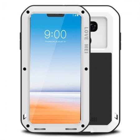 Shockproof Aluminum Metal Super Anti Shake Silicone Protection Case Gorilla Glass for LG G7 / G7 ThinQ - White