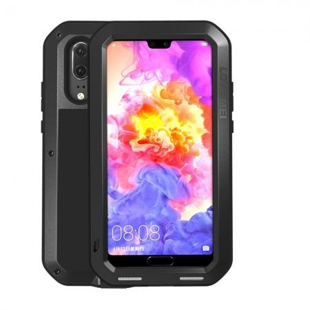 Shockproof Dustproof Aluminum Metal Tempered Glass Case For Huawei P20 - Black