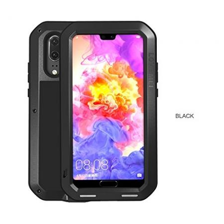 Shockproof Dustproof Aluminum Metal Tempered Glass Case For Huawei P20 Pro - Black