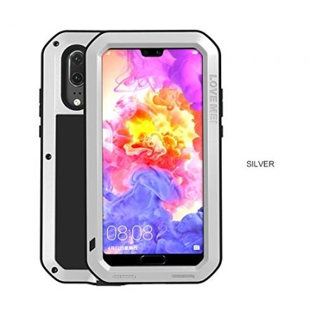 Shockproof Dustproof Aluminum Metal Tempered Glass Case For Huawei P20 Pro - Silver